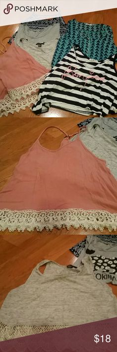 Forever 21 bundle of 6 top Tops are all in good condition.  Sizes range from L to M, but are basically all the same size. From forever 21 and other similar stores Forever 21 Tops