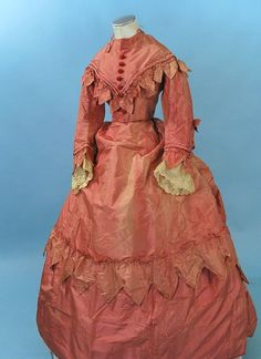 """1860-70 Radiant Iridescent Rose Colored Silk 3 Piece Gown Sawtooth Detail 