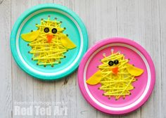 Oh my, you will ADORE this great Paper Plate Chick Craft - perfect for fine motor skills and such an oh so cut paper plate Easter sewing craft too!