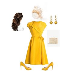 Yellow Fashion, Royal Fashion, Fashion Looks, Cute Summer Dresses, Little Dresses, Yellow Dress Accessories, Red Frock, Yellow Wedding Dress, Luxury Dress