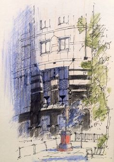 Building sketch in City Square at Leeds