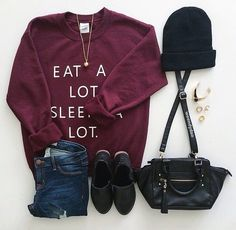 Sweater / jeans / boots / beanie / purse / necklace
