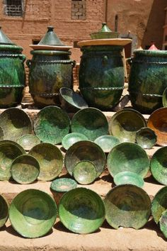 Traditional green pottery from Tamegroute, Zagora region. Morocco