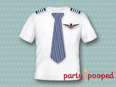 Printable Airplane Birthday Party American Airlines Pilot Uniform Iron-On Design (Customized)  by party pooped
