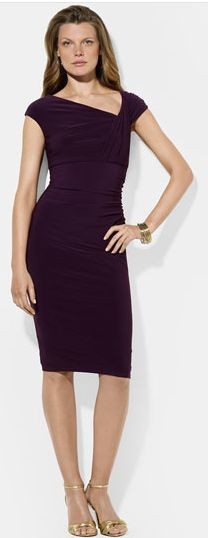 Ralph Lauren Asymmetrical Neck Jersey Sheath Dress