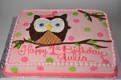 Bethel Bakery 1BD2 - Owl Birthday Cake.  Serves 30 - 36.