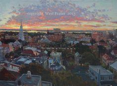 """West Fraser- Oil Painting """"After Dusk"""" Charleston SC"""