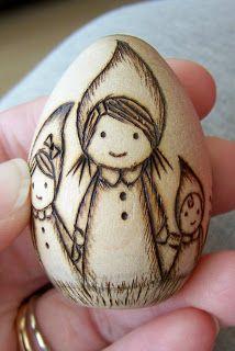 wood burned egg