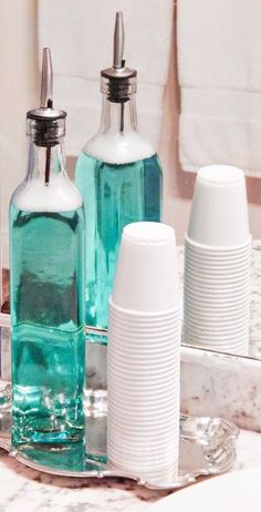 Use Olive Oil & Vinegar Bottles to Store Mouthwash ❤︎ #genius