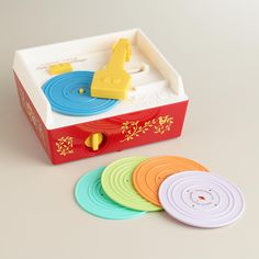 The classic kids' record player is back and it's just as much fun as you remember. Complete with a convenient handle and 10 songs on five records that store neatly inside the player, this tuneful toy is easy to take on the go.