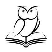 Cartoon of owl and book - symbol of wisdom isolated on white background stock photography