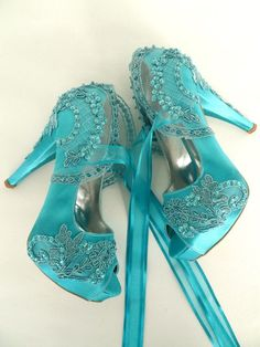 41a1c216730 Wedding Shoes Teal Embroidered Lace Bridal by KUKLAfashiondesign Teal  Wedding Shoes