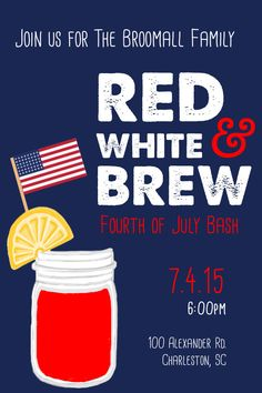 4th of July Invitation - Custom - Red, White, and Brew, Invites by TodaysFullOfPossible on Etsy