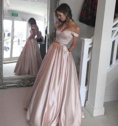 Charming A Line Off the Shoulder Light Pink Prom Dress,Beaded Waist Sweetheart Long Evening Dresses