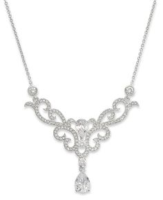 Eliot Danori Necklace, Rhodium-Plated Cubic Zirconia Frontal Necklace (2-3/5 ct. t.w.) - Fashion Necklaces - Jewelry & Watches - Macys
