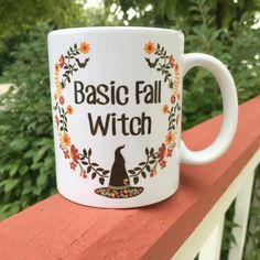 Please allow up to 5 full business days for these to ship. Basic Fall Witch is a multicolored design printed on a ceramic off white mug. These are made with su