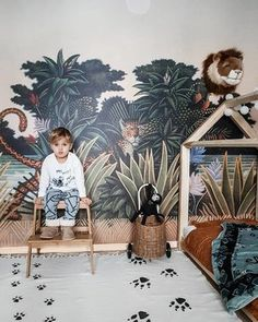 kleinkind zimmer Mark's Playful Toddler Room with Jungle Vibes - designed by a mother in Slovenia who is passionate about interior design, especially Scandinavian Kids Room Wallpaper, Of Wallpaper, Wallpaper Jungle, Wallpaper Childrens Room, Unique Wallpaper, Bedroom Wallpaper, Leopard Tapete, Leopard Wallpaper, Little Boys Rooms