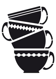 stack of tea cups - SVG, PNG, JPG - Cricut & Silhouette Digital Files teacups Stencils, Stencil Art, Stencil Designs, Stencil Printing, Create Shirts, Kitchen Wall Art, Cricut Design, Wall Art Decor, Etsy Store