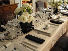 diamonds, silver and white table settings | ... black white table setting with a touch of silver just gorgeous