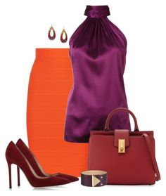 """Purple, orange & maroon"" by elizabethdawes on Polyvore featuring BCBGMAXAZRIA, Ramy Brook, Gianvito Rossi, 1928, Marc Jacobs and Emporio Armani"