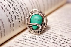 Turquoise ring - Tibetian turquoise ring - Wire wrapped ring - Turquoise jewelry ring - Gemstone ring - Wire wrapped ring