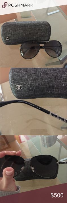 Chanel sunglasses Barely worn. Comes with cloth, case and original packaging. CHANEL Accessories Sunglasses
