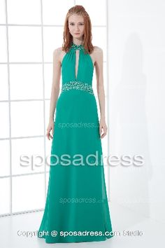 Enticing Halter Sequined Chiffon Green A-line Prom Dress