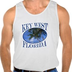 Beautiful Blue Key West Beach And Palm Tree Tanktops Tank Tops