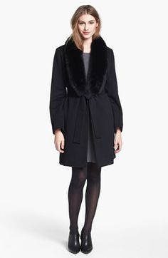 Fleurette Genuine Fox Fur Collar Tuxedo Wrap Coat available at #Nordstrom