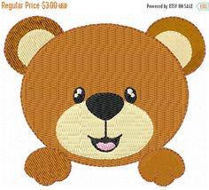 SALE off Cute Bear Face Machine by embroiderydesignsavi Sewing Machine Embroidery, Baby Embroidery, Embroidery Software, Learn Embroidery, Modern Embroidery, Embroidery Techniques, Cute Bear, Applique Monogram, Applique Ideas