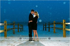 Sea Isle City Beach Engagement Photos in the Snow - Snowy Engagement Photos