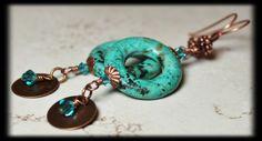 Aztec... Handmade Jewelry Earrings Beaded Gemstone by Fanceethat, $24.00