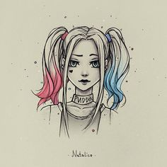 Harley Quinn from natalico on DeviantArt - . - Harley Quinn by natalico on DeviantArt – Anime Drawings Sketches, Girly Drawings, Cool Art Drawings, Disney Drawings, Drawing Disney, Amazing Drawings, Pencil Drawings, Harley Quinn Drawing, Arte Sketchbook