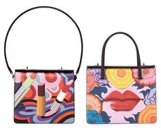 Prada Saffiano Print Lips Satchel and Lipstick Shoulder Bags  Loud Mouths Prada  Saffiano fdb09af97d10e