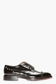 VALENTINO Black Leather RUBBER STUD derbys