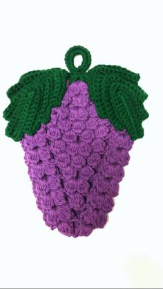 Handmade grape potholder. Made from 100% cotton yarn & is double thick. Machine washable and dryable. Measures 8.5 × 7.5 Color: purple and dark green. Hand crocheted by me and comes from a non-smoking home Please contact me if you have any questions & check out my store for more handmade items.