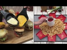Time for some good fast-food 🍔 Over-the-Top French Fries 🍟 Grilled Cheese Pizza 🍕 and more Chefclub - YouTube Burger Party, Best Fast Food, Pizza And More, Good Burger, Banana Split, French Fries, Grilling, Sweet Treats, Cooking