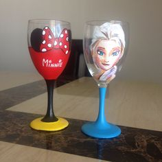 Two Hand Painted Disney Wine Glasses  your by DrawingsByBOBA, $55.00  These are amazing!