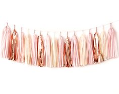 Blush Rose Gold Tassel Garland DIY Kit - Pink Champagne, Ivory, Nude, Rose Pink, Wedding Shower Tissue Paper Tassle Decor Balloon Tails by PaperboyParty on Etsy https://www.etsy.com/listing/499498968/blush-rose-gold-tassel-garland-diy-kit