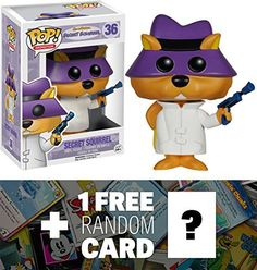 Secret Squirrel Funko POP x HannaBarbera Vinyl Figure  1 FREE American Cartoon Themed Trading Card Bundle 50252 ** Continue to the product at the image link.