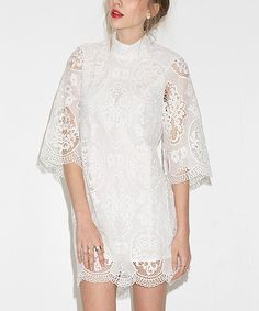 Look at this HaoYouDuo White Lace Shift Dress on #zulily today!