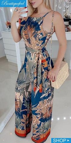 Tropical Print Spaghetti Strap Jumpsuit in 2020 Fashion Line, Look Fashion, Hijab Fashion, Fashion Dresses, Womens Fashion Online, Jumpsuits For Women, African Fashion, Stylish Outfits, Couture