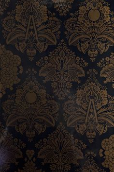 """""""Fruits of Design,"""" Wallpaper. A traditional damask design that incorporates modern elements, artists tools and geometric shapes.  A great pattern for creative types and anyone who appreciate the intersection of art and science…and fruit, naturally."""