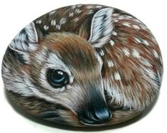 Pretty Forest Fawn Hand Painted On Natural Flat Stone with Acrylics and finished with Glossy varnish. A clever gift Idea for your friends! Painted Rock Animals, Painted Rocks, Hand Painted, Pebble Painting, Tole Painting, Garfield Cartoon, Driftwood Wall Art, Decorative Gourds, Flat Stone