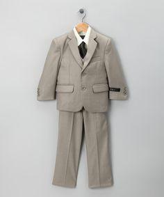 Another great find on #zulily! Dark Tan Five-Piece Suit Set - Toddler & Boys by Little Stallion #zulilyfinds