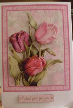Tulips In The Pink Card & Decoupage Mothers Day Pink Cards, Glitter Glue, Anna Griffin, Rally, Tulips, Decoupage, Projects To Try, Card Making, Banner