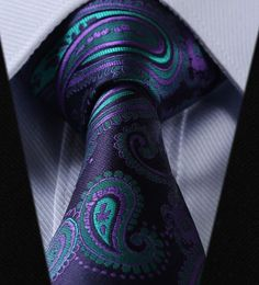 "2pc 100% Silk Jacquard Woven Necktie Set Color: Purple and Turquoise 59"" Length, 3.4"" Width"