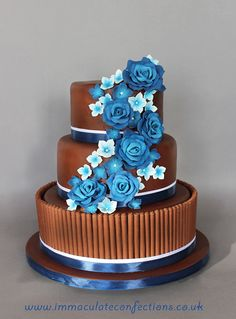 Chocolate and Blue Roses Wedding Cake - Cakes by Natalie Porter - Hertfordshire and Essex