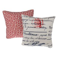 Greek Key Red Reversible Square Decorative Pillows (Set of 2) - Overstock™ Shopping - Great Deals on Throw Pillows