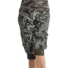 Calvinmetoo-Corsaire Femme Camouflage Camo Imprimé-en Coton Melangé-Militaire Armée Sexy-Taille L